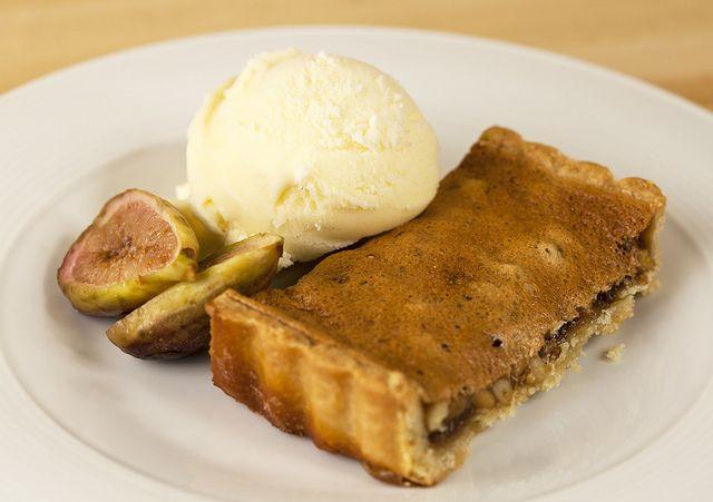 caramelized pine nut tarts w/ rosemary ice cream & honey-glazed figs