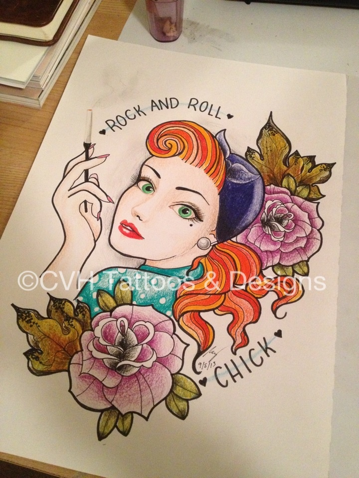 rock and roll chick rockandroll rockabilly drawing drawing design tattoo 1950 pinup. Black Bedroom Furniture Sets. Home Design Ideas