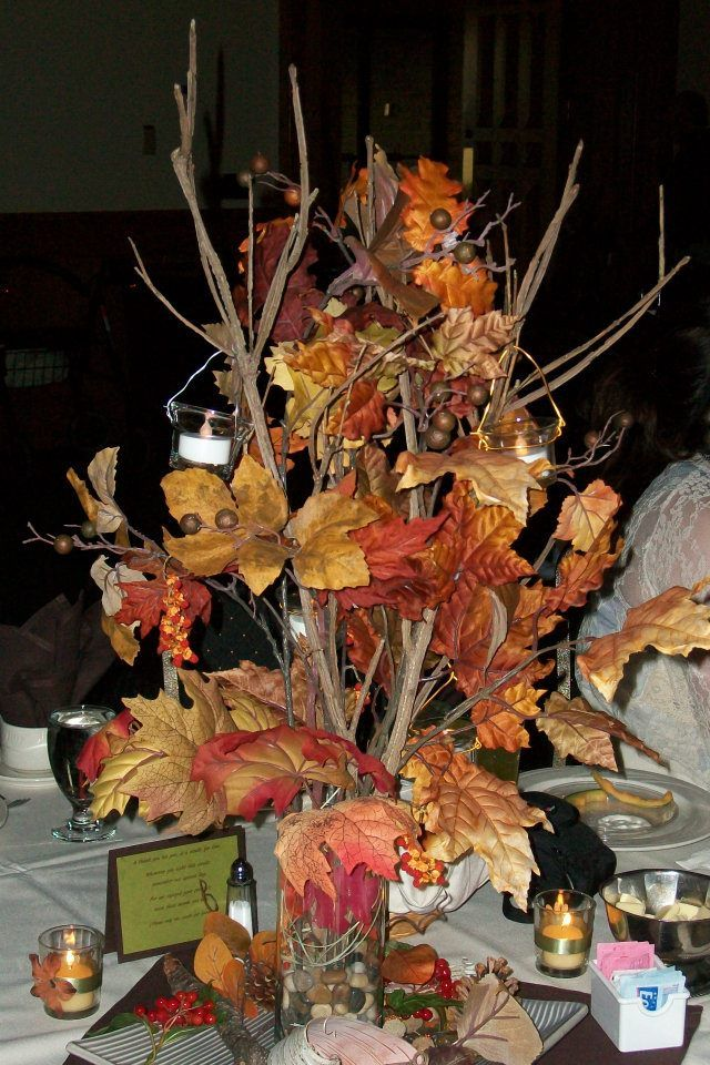 Fall table centerpiece for wedding wedding fall pinterest for Fall wedding centerpieces