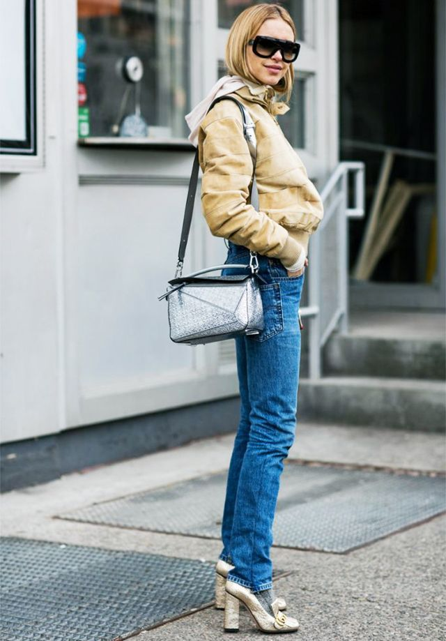 21 Street Style Looks That Prove Metallic Shoes Are Always the Right Choice