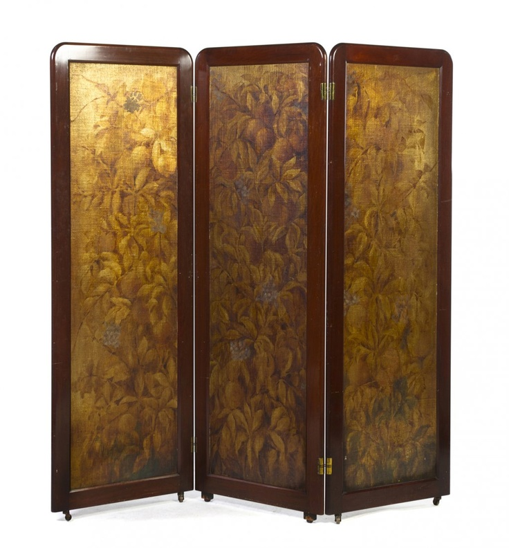 An Art Deco Style Mahogany Three-Panel Floor Screen