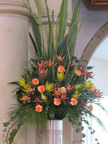 Church floral arrangement wedding flowers pinterest