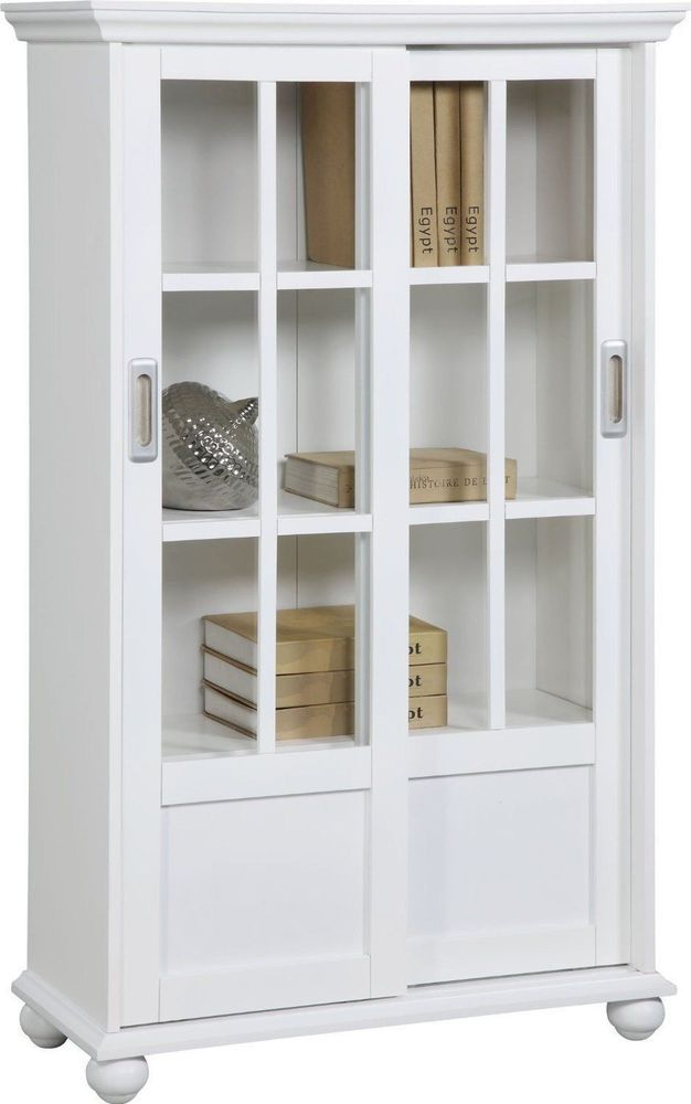 White Finish Altra Bookcase Glass Sliding Doors Cabinet Organizer For