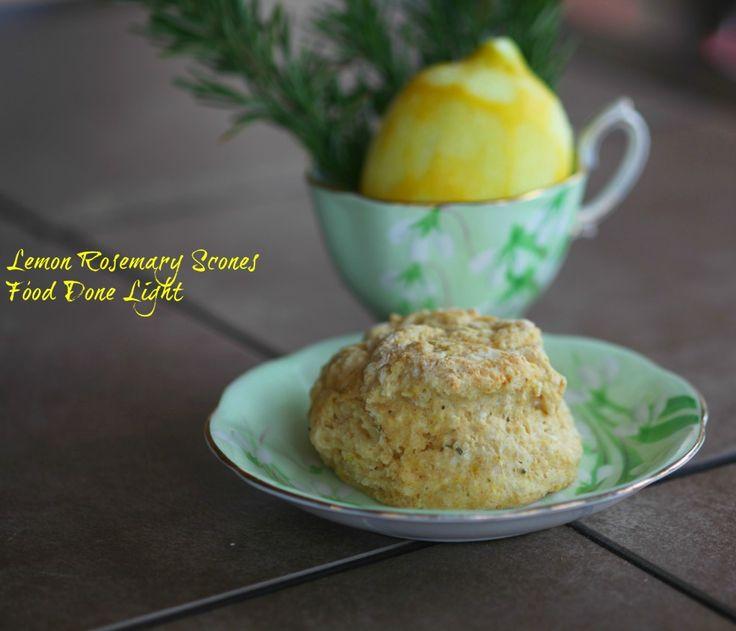 Lemon Rosemary Scones www.fooddonelight.com #lightscones #lemonscones ...