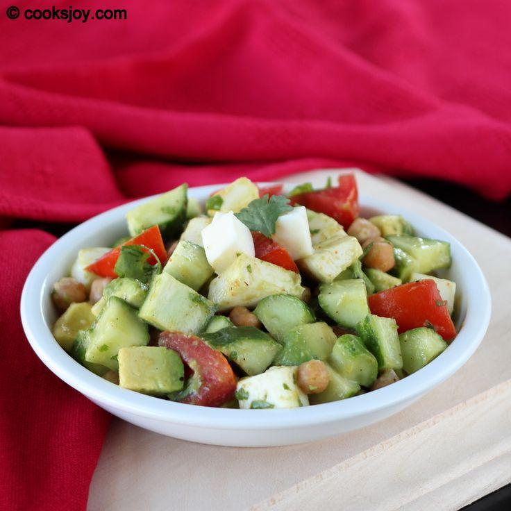 ... Salad - avocado, mozzarella, cucumber, tomatoes, garbanzo beans, and