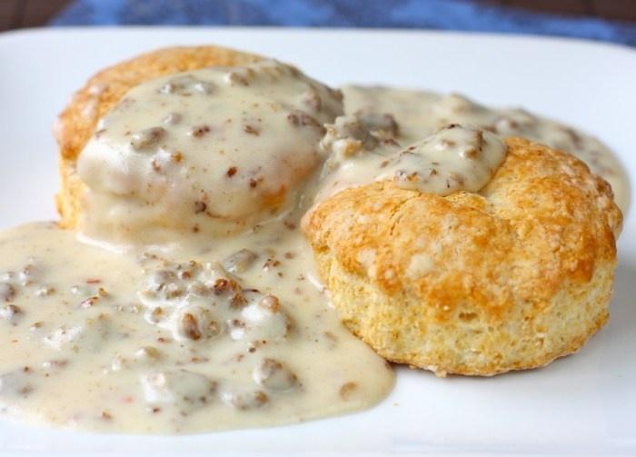 Buttermilk Biscuits and Sausage Gravy (DaisyWorld.net)