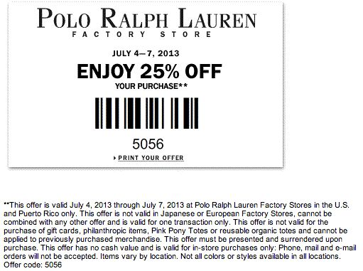 Ralph lauren factory outlet coupon 2018