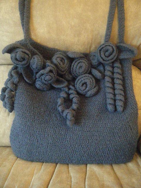 Crochet Felted Tote Bag Pattern : Pin by thevintagehandbag.com on Crochet Purse & Handbag ...
