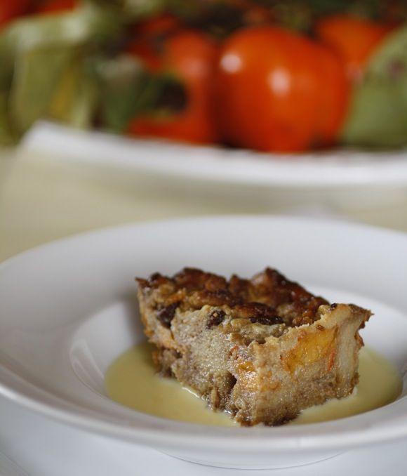 Persimmon bread pudding with walnuts, raisins, kentucky bourbon creme ...