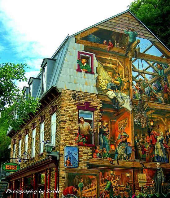 Wall mural in quebec city dwellings pinterest for Mural quebec city
