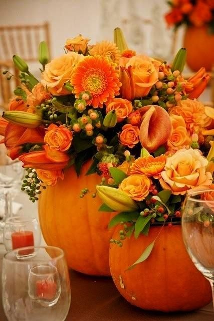 Fall Dinner Party > Cute, hollow out pumpkins and use as vases.