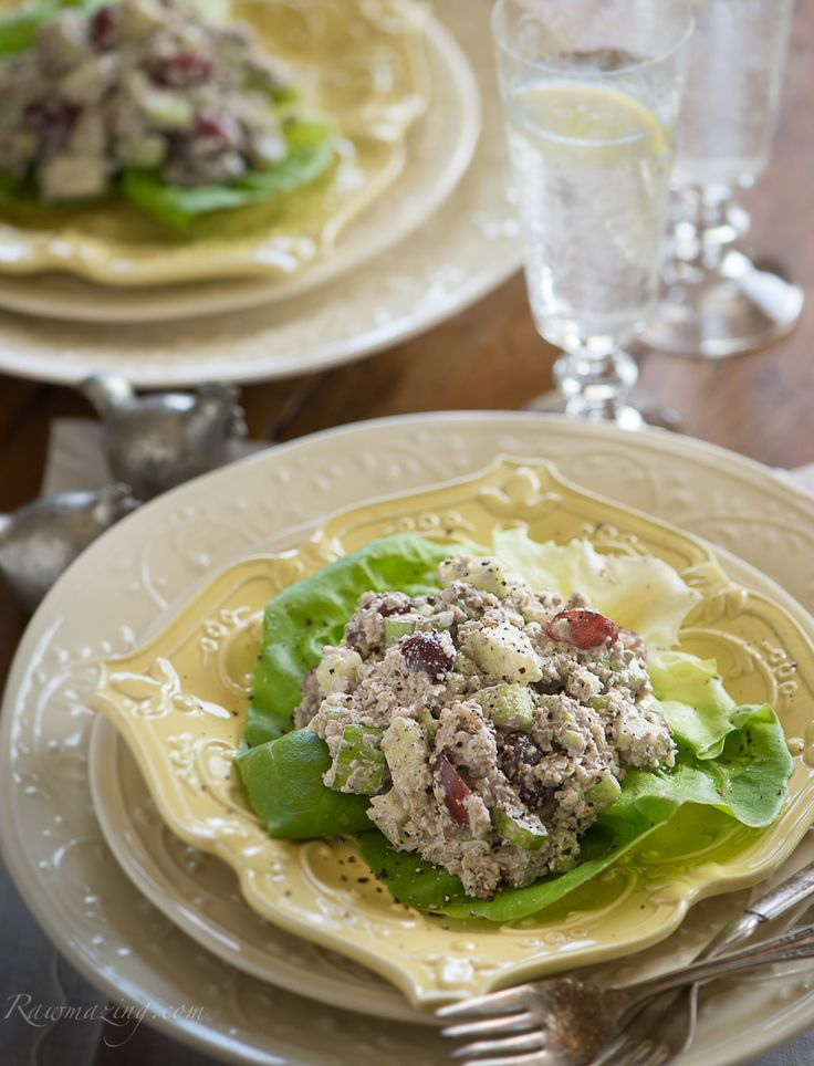 Raw mock tuna salad. It is a wonderful fruit and veggie salad, with ...