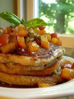 Ginger-Ale Pancakes with Fresh Vegan Peach-Basil-Maple-Ale Chutney ...