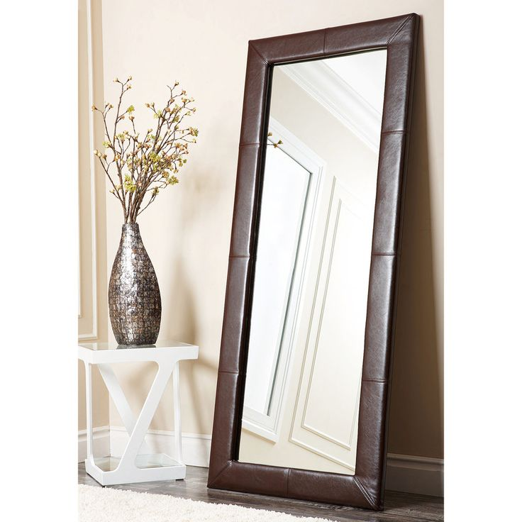 Abbyson living delano dark brown leather floor mirror for Floor mirror