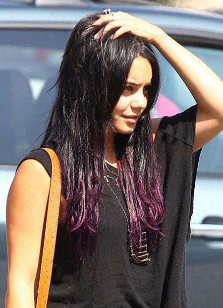 purple tips on dark hair coiffures pinterest