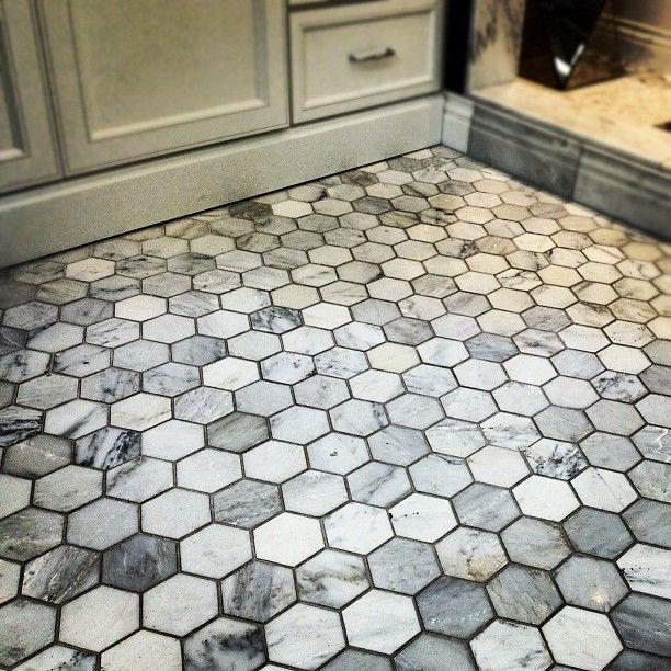 Carrara marble hexagon bathroom floor bathroom for Marble hex tile bathroom floor