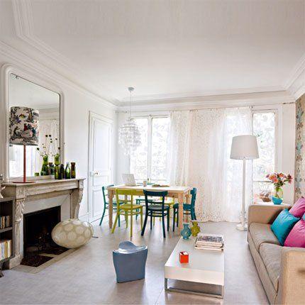 Un salon féminin et contemporain  Colorfull living room  Pinterest