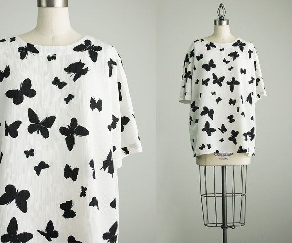 90s Vintage Black And White Butterfly Blouse   Medium   by decades       Vintage Butterfly Black And White