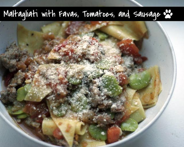 Herbie Likes Spaghetti: Maltagliati with Favas, Tomatoes, and Sausage ...