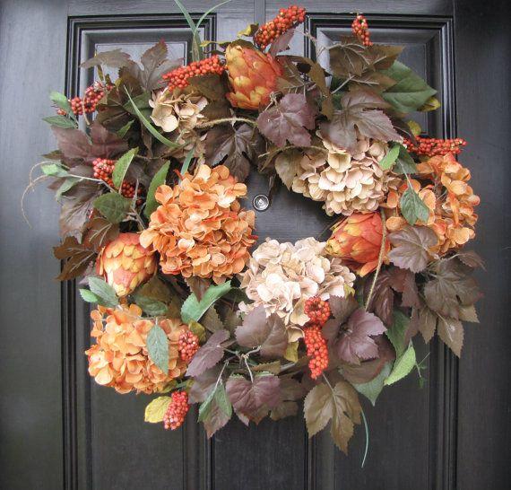 hydrangea blooms and berries wreath front door wreaths