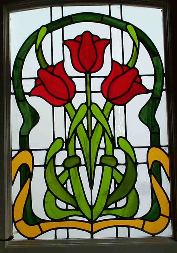 Stained glass tulips stained glass pinterest for Window design art