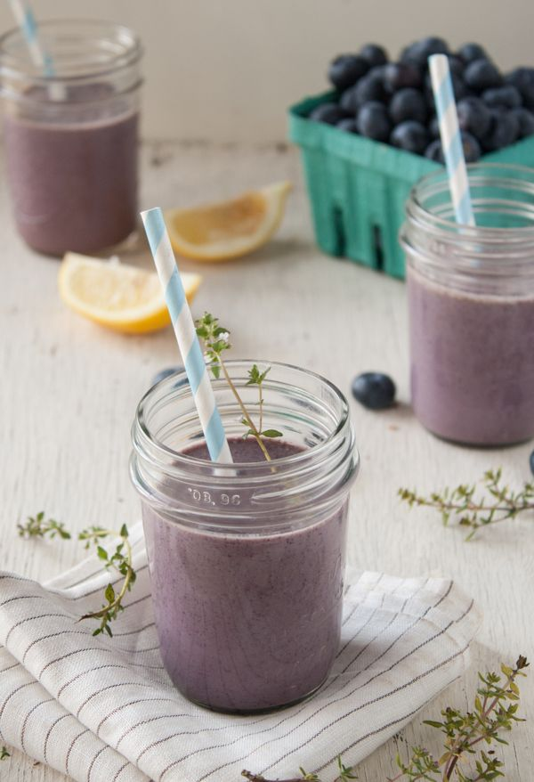 lovely and simple lemon-thyme blueberry smoothie highlighting some ...
