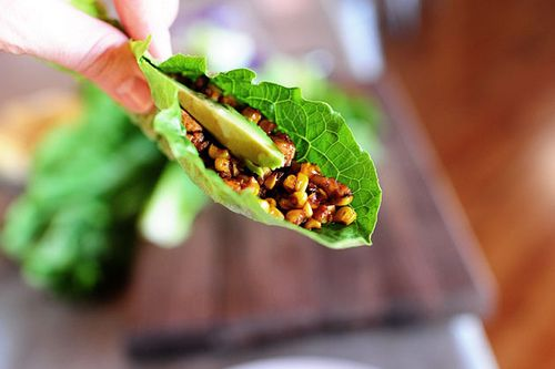 """Vegetarian Lettuce Wraps: tofu & corn A perfect meal if """"you want to..."""