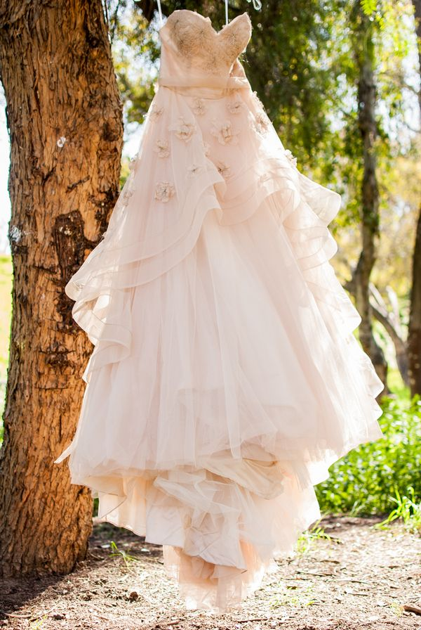 Rose-colored wedding dress - I like everything about it except for the flowers on the top!!