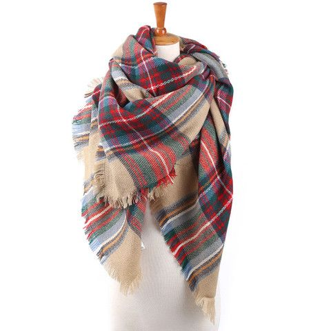 Plaid Blanket Scarf - Multi/Cream – Heart & Home