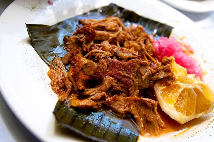 Cochinita Pibil! The dish is pork marinated in spiced achiote paste ...