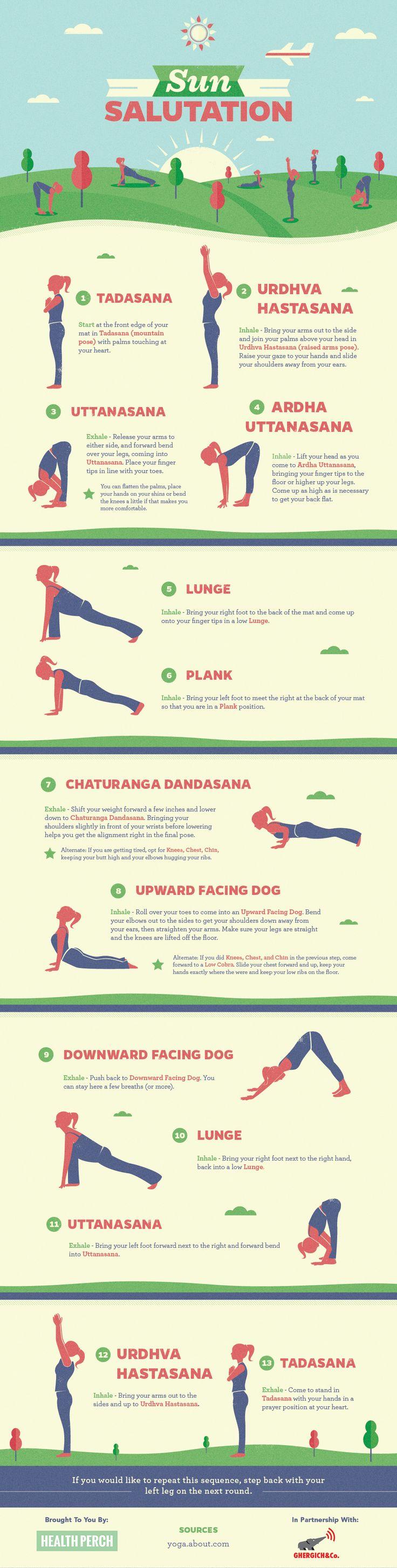 Infographic: How To Do Sun Salutation #Yoga: http://blog.gaiam.com/infographic-how-to-do-sun-salutation/