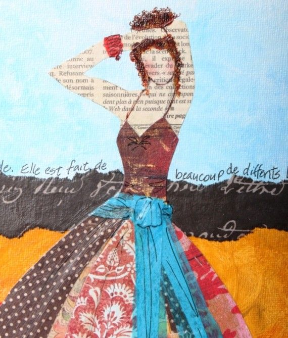 I love this artist's work, how she combine's mixed media and fashion.
