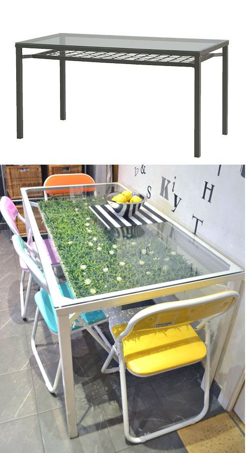 Granas table hack with fake grass ikea hacks pinterest for Table ikea 6 99