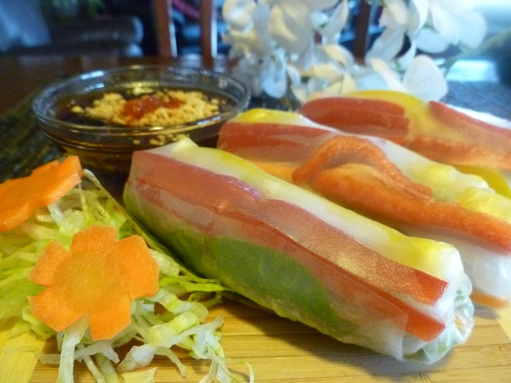 Vietnamese Fresh Vegetarian Salad Rolls | healthy options | Pinterest