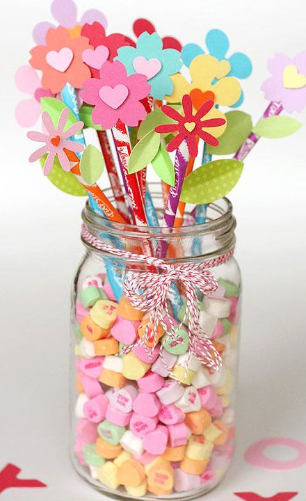 Homemade Valentines Day Gifts in a Jar - Pixy Stix Bouquet - DIY Valentines Day Ideas