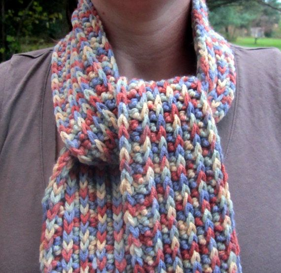 Crochet Patterns Variegated Yarn : Crocheted scarf Variegated Yarn by JNKCreative on Etsy, $15.00