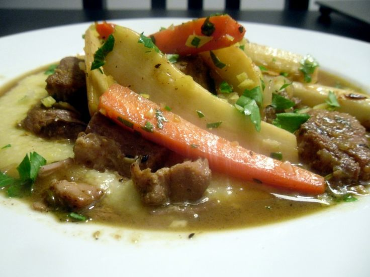 Slow cooked Pork with Gremolata Root Vegetables and Polenta # ...