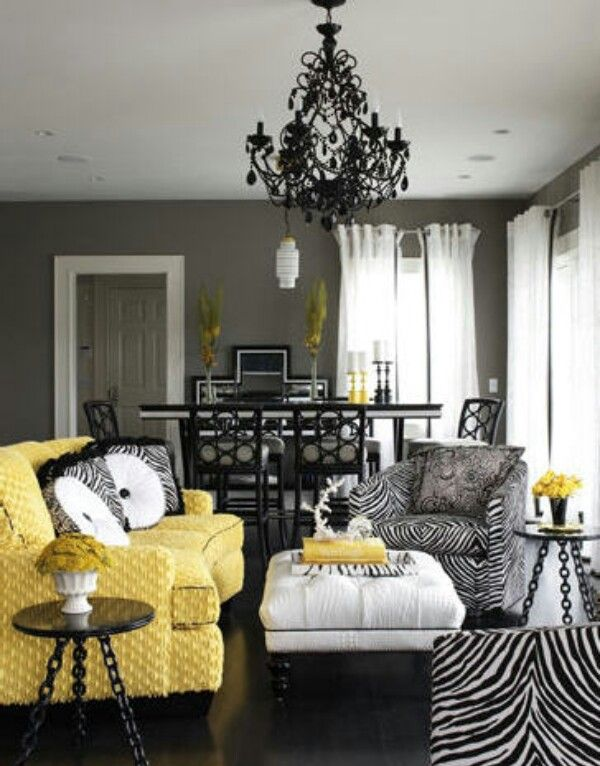 Yellow black grey living room