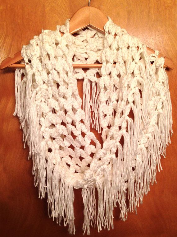 Free Crochet Pattern For Infinity Scarf With Fringe : Endless Petals Lacy Infinity Scarf Cowl Wrap Shawl Instant ...
