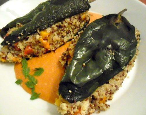 Quinoa Stuffed Poblano Peppers. Quinoa and Butternut squash. I see ...