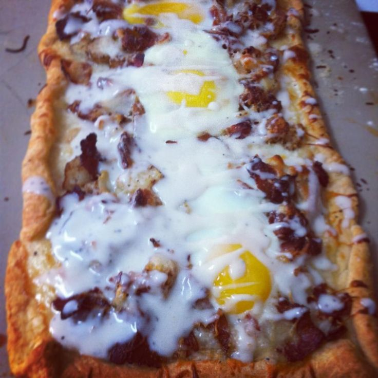 Breakfast Pizza with sausage gravy drizzle :: softened potatoes ...