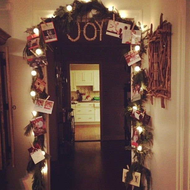 Christmas card garland with glittered clothes pins