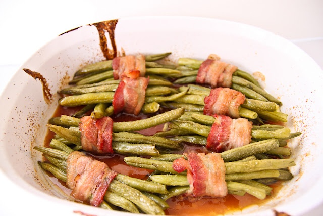 maple glazed green beans with bacon!