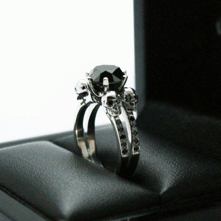 Black diamond skull engagement ring Christi s Wish List