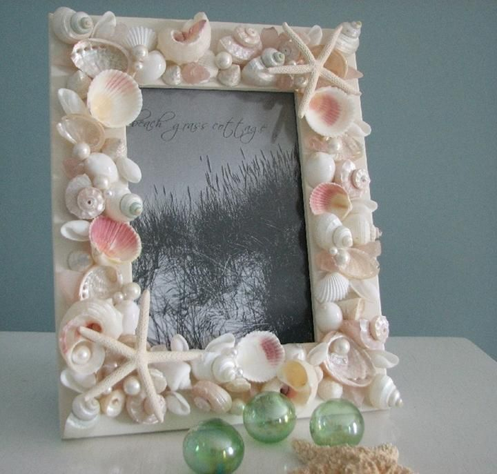 Diy sea shell photo frame sea shells pinterest for Shell diy