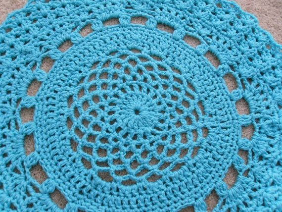 Turquoise Giant Crochet Doily Rug Lacey Large Non Skid