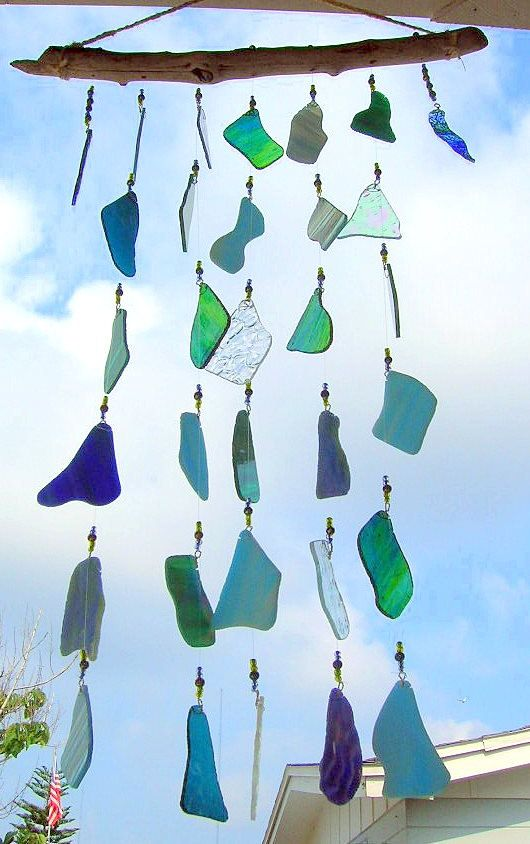 blue skies blue waves stained glass wind chime