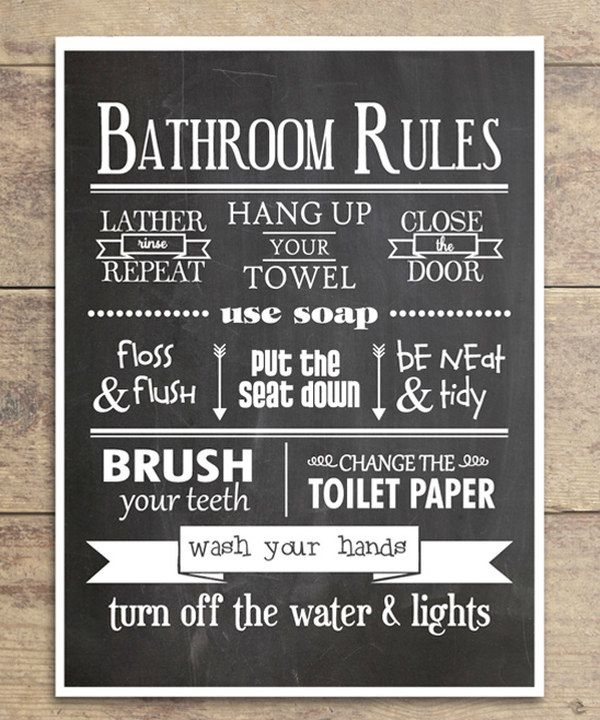 Classic 39 bathroom rules 39 print for Rules of good bathroom design