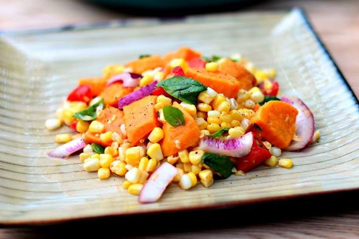 Sweet Potato, Corn, Tomato & Basil Salad https://www.facebook.com ...