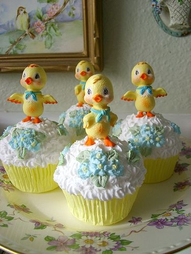 Vintage Easter Chick Faux Cupcakes by sweetnshabbyroses, via Flickr